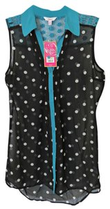 Candie's Sleeveless Button Down Shirt Black
