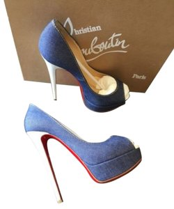 Christian Louboutin Lady Peep 150 Denim Blue Platforms