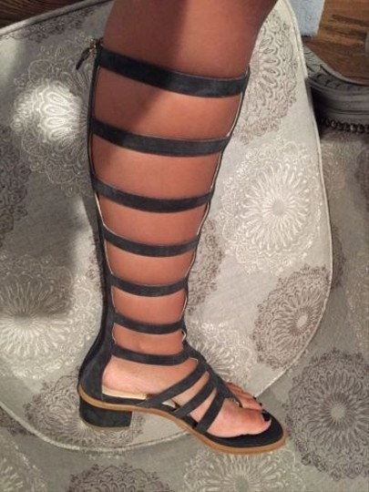 Chanel 15s Dark Suede Gladiator Knee Sandal Gray Boots