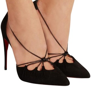 Christian Louboutin Riri Suede Heel Strappy Black Pumps