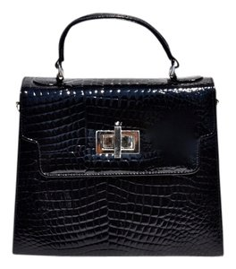 Kelly Bag Alligator Leather Satchel in Black