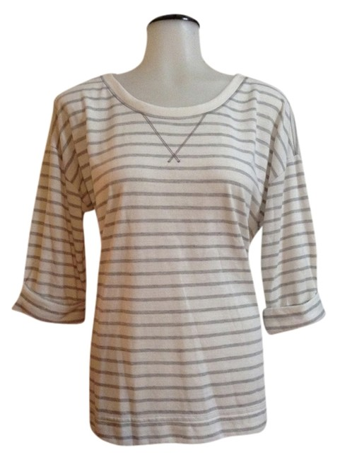 Gap T Shirt White/ Grey striped