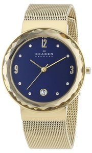 Skagen Denmark Skagen Leonora SKW2181 Faceted Mesh Band Gold tone Steel Women's Watch