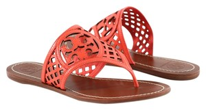 Tory Burch Thatched Perforated Thong Leather Poppy Coral Sandals