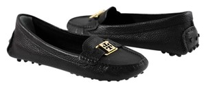 Tory Burch Kendrick Tumbled Leather Driver Loafers Black Flats