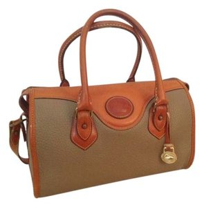 Dooney & Bourke Satchel in Taupe pebbled leather with natural leather trim