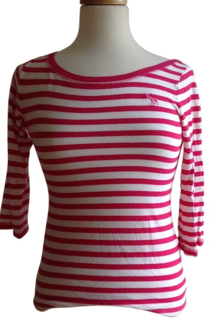 Abercrombie & Fitch T Shirt Pink and white