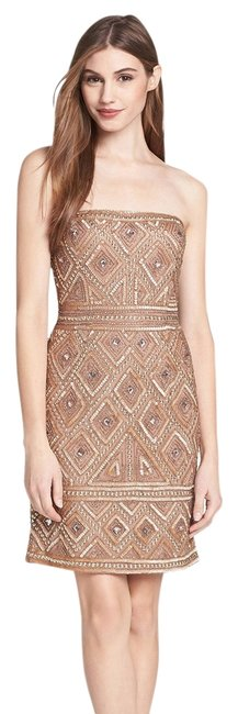 Adrianna Papell Strapless Tribal Beaded Dress