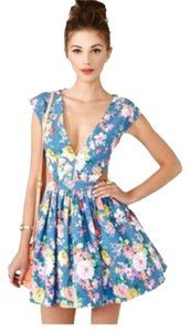 Mustard Seed short dress Blue Cut Out Floral Summer on Tradesy