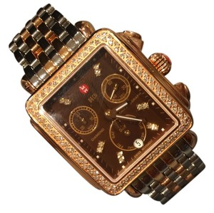 Michele Nwt Michele women's deco 18k rose gold diamond chronograph watch$2395