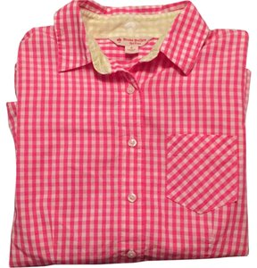 Brooks Brothers Button Down Shirt Pink Gingham with Green Gingham Accent