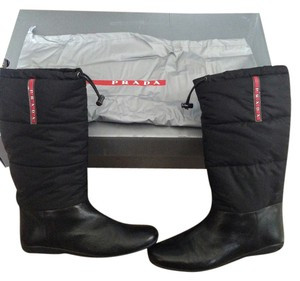 Prada Nylon Leather Snow Black Boots
