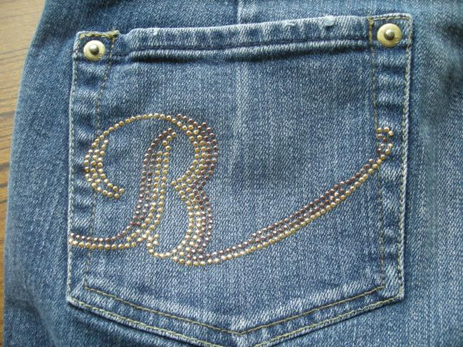 Bisou Bisou Gold Stud's Capri/Cropped Denim-Medium Wash