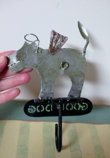 Other Dog w/ Angel Wings & Halo - Handmade - Metal Wall Hook / Key Hook / Dog Leash Hook / Wall Hook
