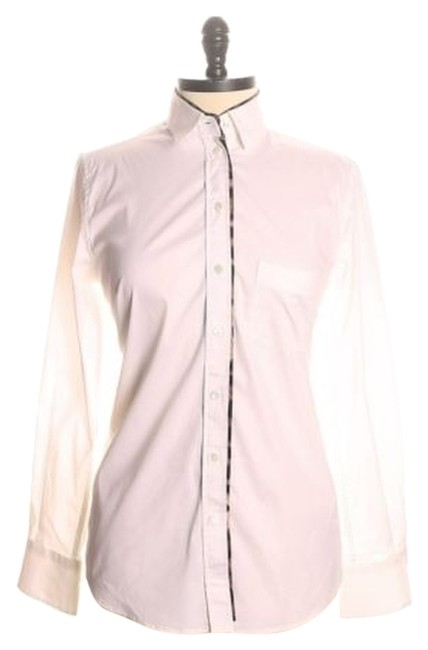 Dolce&Gabbana White Solid Collared 42/S Button-down Top Size 4 (S) Dolce&Gabbana White Solid Collared 42/S Button-down Top Size 4 (S) Image 1