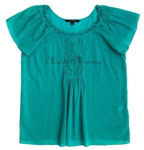 Chadwicks New Without Tags Lace Gauze Top Green