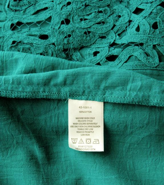 Chadwicks New Without Tags Lace Gauze Flutter Sleeve A-line Top Green
