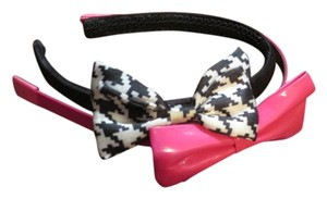 Houndstooth Bow Headband & Pink Patent Leather Bow Headband Set