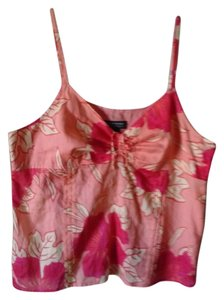 New York & Company Tropical Print Coral Floral Sleeveless Hawaiian Print Pink Floral Print Top coral,pink,orange,white