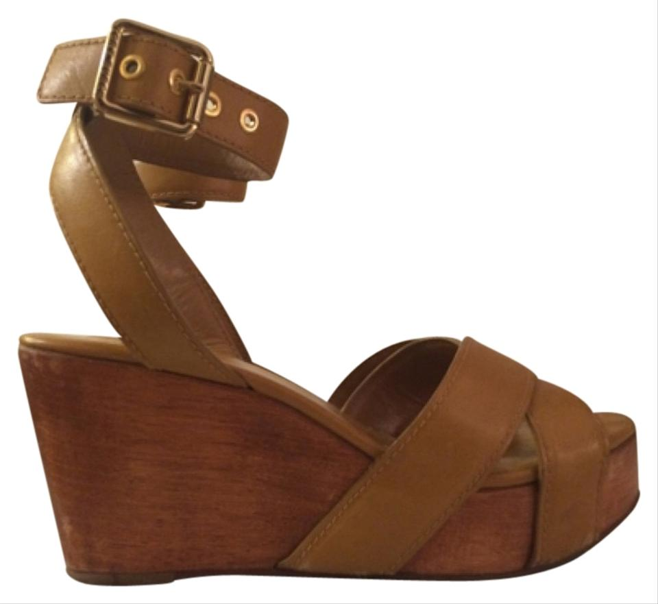 80a78816a6 Tory Burch Tan Almita Leather Platform Sandals Wedges Size US 7 ...