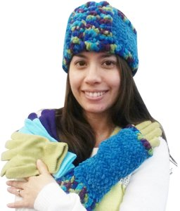 Other Multi Chenille Head Wrap and Texting Glove Set