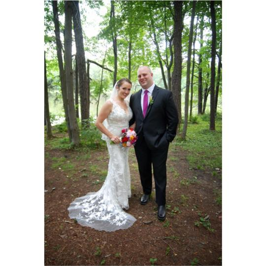 Allure Bridals Ivory/Cafe/Silver Charmeuse Sillk and Lace Overlay 8800 Wedding Dress Size 8 (M)