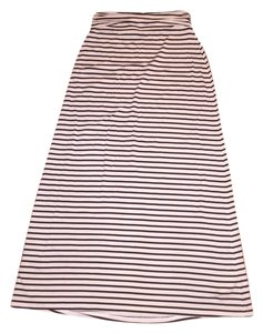 J.Crew Flowy Casual Summer Fall Striped A-line Full Length Maxi Skirt Navy, Cream