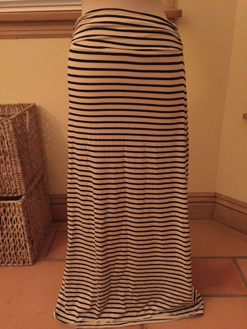 J.Crew Flowy Casual Summer Fall Striped A-line Full Length Jersey Maxi Skirt Navy, Cream
