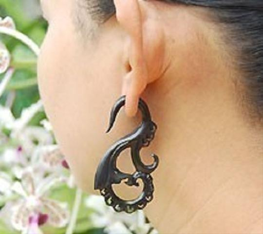 Other Faux Gauges Organic Wood Earrings Spiral Swan Curls Double Sided