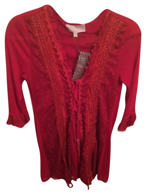 Pretty Angel Embroidered Top Red, true red
