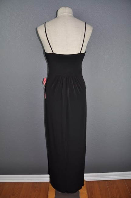 Black Maxi Dress by En Focus Studio Grecian Plunging Sexy Resort Wear Maxi Stretchy Medallion Ethnic