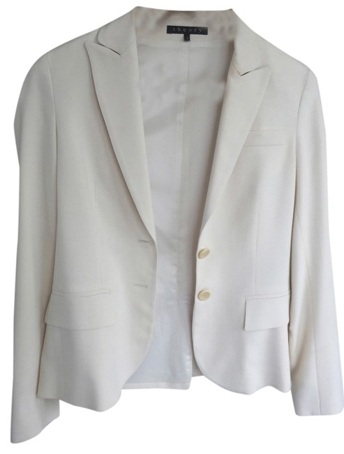 Item - Cream Tailored Double Button Matching Blazer & Pant Suit Size 0 (XS)