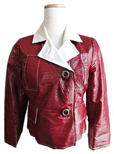 Tracy Reese Patent Leather Red Leather Jacket