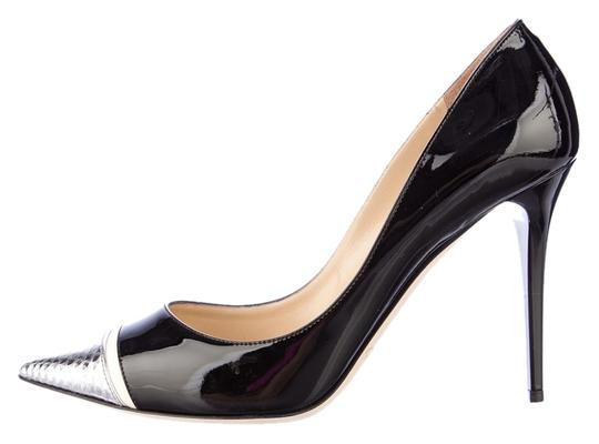 Jimmy Choo Patent Leather Capri Snakeskin Black Pumps
