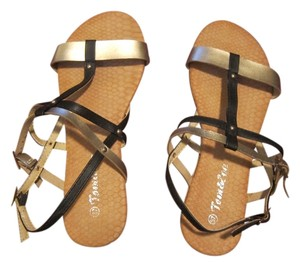 Tom & Eva Gold and Black Sandals