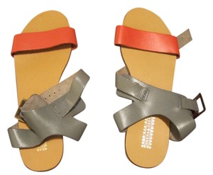 Deena & Ozzy Red/Orange and Gra Sandals
