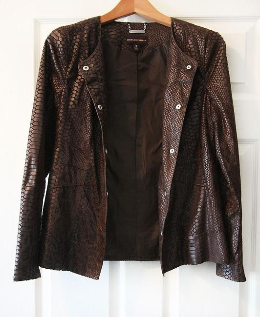 Dana Buchman Faux Snake Skin Brown Jacket