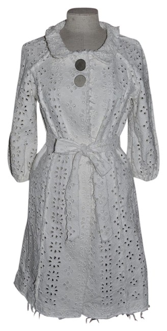 Other Eyelet Lace Trench Distressed Semi-sheer Trench Coat