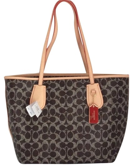 Coach Tote in Saddle/Lt Gold/Natural