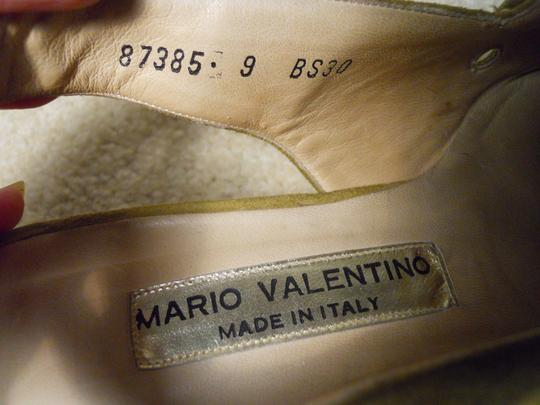 Mario Valentino Leather Pl Bx Of olive green Wedges