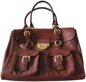 Prada Leather Leather Briefcase Briefcase Satchel in Brown