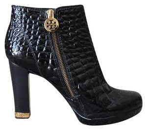 Tory Burch 6.5 Croc Embossed Brown Boots