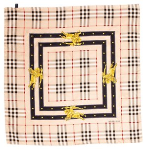 Burberry Tan Multicolor Nova check plaid print Burberry silk scarf