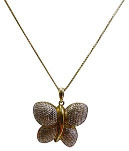 Technibond Technibond Diamond Accented Butterfly Pendant with 18 Inch Chain