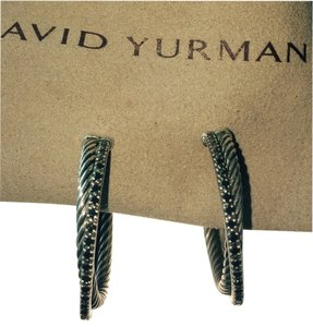 David Yurman David Yurman Black Diamond Cable Hoop Earrings