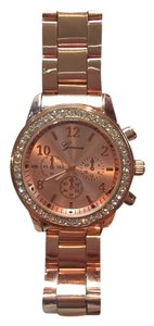 Geneva Geneva Rose Gold Plated Classic Round CZ Stainless Steel Back Ladies Boyfriend Watch