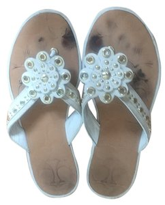 Coach Leather White Sandals