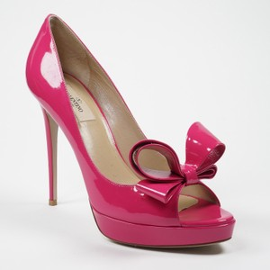 Valentino Couture 39.5 9 Hot Pink Fuchsia Patent Leather Peep Toe Wedding Shoes