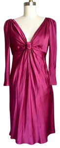 Alberta Ferretti Designer Silk Party Draping Ruched Dress