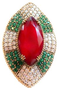 Stunning LARGE Genuine Ruby, Natural Emerald and White Topaz Sterling Silver Ring 8.5